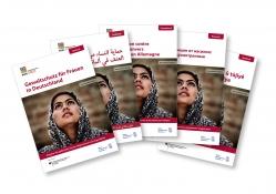 Das Bild zeigt die Titelseite des Ratgebers Gewaltschutz für Frauen in Deutschland in verschiedenen Sprachausgaben